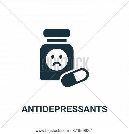 Antidepressants Icon. Simple Element From Psychology Collection. Creative Antidepressants Icon For W