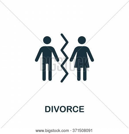 Divorce Icon. Simple Element From Psychology Collection. Creative Divorce Icon For Web Design, Templ