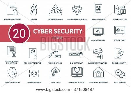Cyber Security Icon Set. Collection Contain Keyset, Secure Data Folder, Mobile Security, Online Priv