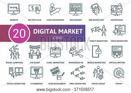 Digital Marketing Icon Set. Collection Contain Blog Management, E-mail Marketing, Sms Marketing, Liv