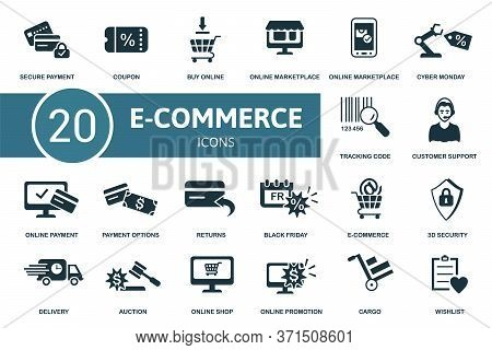 E-commerce Icon Set. Collection Contain Wishlist, Secure Payment, Online Marketplace, Market App And