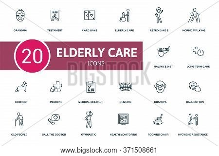 Elderly Care Icon Set. Collection Contain Grandma, Health Monitoring, Call Buttom, Card Game And Ove