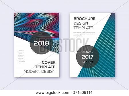 Modern Cover Design Template Set. Red White Blue Abstract Lines On Dark Background. Fabulous Cover D
