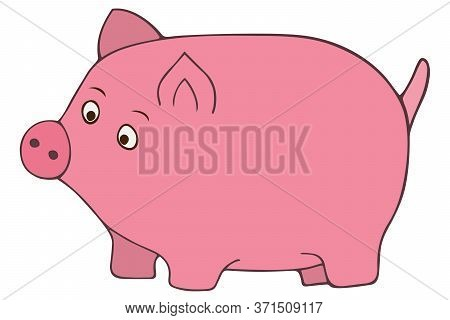 The Pink Pig. Color Vector Illustration. A Pet. Animal On An Isolated White Background. Cartoon Styl
