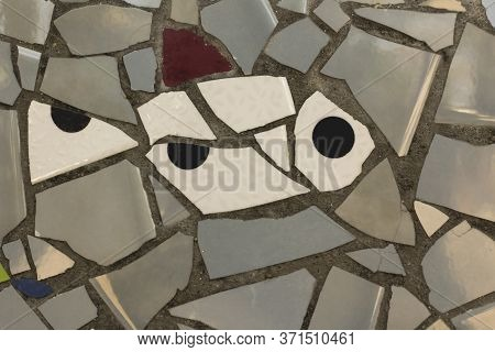 Colorful Mosaic Background With Detail Of White Fish . Mixture Of Broken Pieces With Different Shape