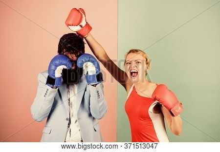 Couple Romantic Relationships. Man And Woman Boxing Fight. Boxers Fighting Gloves. Difficult Relatio