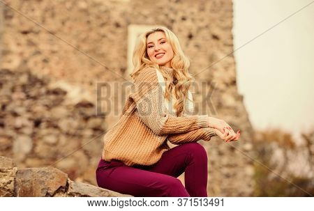 Peaceful Morning. Girl In Sweater. Trendy Girl Tourist. Autumn Vacation To Ancient City. Travel Dest