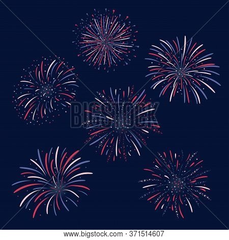 Set Of Vector Firework Design On Dark Blue Background. Fourth Of July Independence Day Of The Usa. U