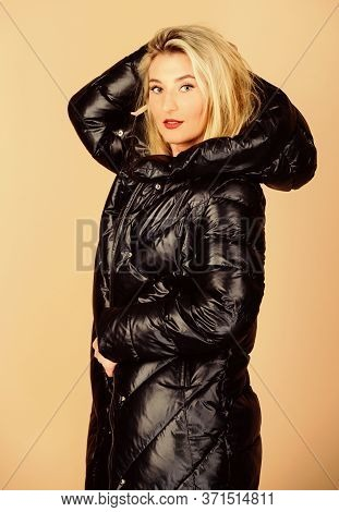 I Love It. Woman In Padded Warm Coat. Beauty In Winter Clothing. Cold Season Shopping. Flu And Cold.