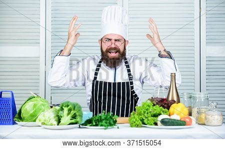 Chef At Work Starting Shift. Guy In Professional Uniform Ready Cook. Master Chef Concept. Culinary C