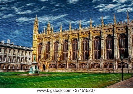 Cambridge, England - July 25, 1997. Gothic Facade Of King College Chapel Building In Front Of Courty