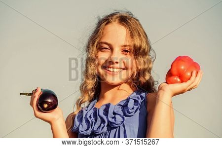 Girl Happy Smiling Child Living Healthy Life. Healthy Lifestyle. Kid Gathering Vegetables Sky Backgr