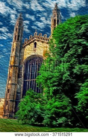 Cambridge, England - July 25, 1997. Gothic Facade Of King College University Chapel And Leafy Tree I