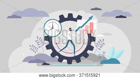 Productivity Vector Illustration. Job Performance Flat Tiny Persons Concept. Efficient Time And Task