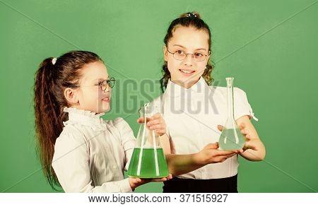 Children Study Chemistry Lab. Little Smart Girls With Testing Flask. Back To School. Biology Educati