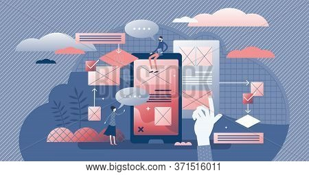 User Friendly Experience Vector Illustration. Web Feedback Flat Tiny Persons Concept. Application Us