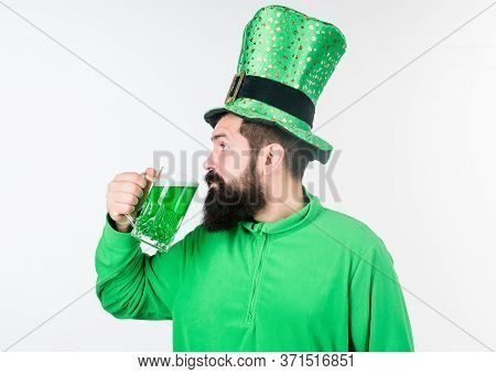Colored Green Beer. Green Beer Part Of Celebration. Irish Pub. Alcohol Consumption Integral Part Sai