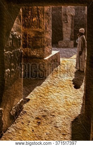 Egyptian Man Standing On Ruins From An Old Temple Covered By Hieroglyphics In The Karnak Complex Nea