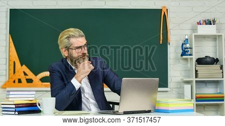 Lost In Thoughts. Serious Man Back To School. Senior Teacher Look Serious In Glasses. Business Coach