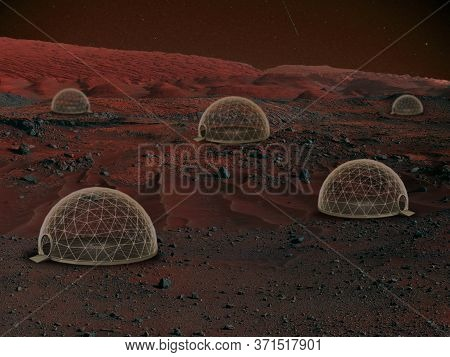 Imagine People Live On Mars. Close Up Landscape Of An Abandoned Planet, Beauty Of Life On Mars. Prot