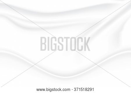 Crumpled Fabric Texture. Cloth Wave Grey Shadow Soft Creased White Abstract Background. Illustration