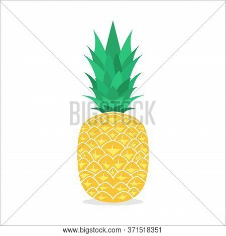 Pineapple Fruit Icon. Pineapple Icon Vector Flat Illustration For Graphic And Web Design Isolated On