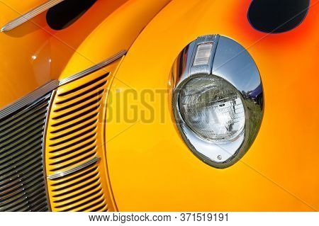 Retro Vehicle Grill Abstract In Sunset Shades Of Yellow And Orange
