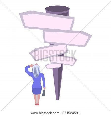 Confused, Business Woman In Front Of A Choice, White Background.