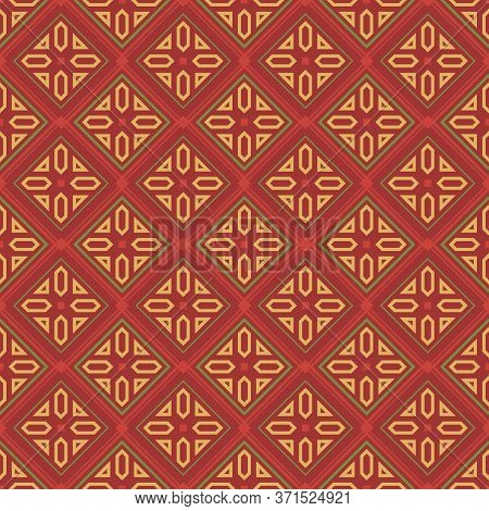 Retro Vintage Chinese Traditional Pattern Seamless Background Check Geometry Plygon Cross Frame Line