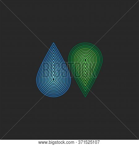 Biotechnology Logo Silhouette Abstract Blue Drop Of Water And Green Leaf Parallel Lines Minimal Desi