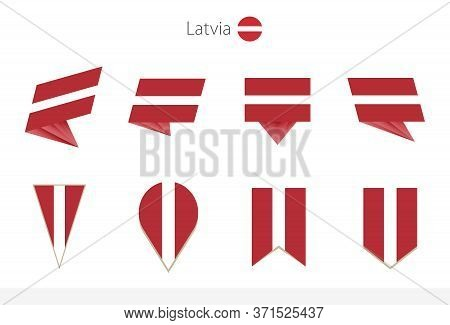 Latvia National Flag Collection, Eight Versions Of Latvia Vector Flags. Vector Illustration.