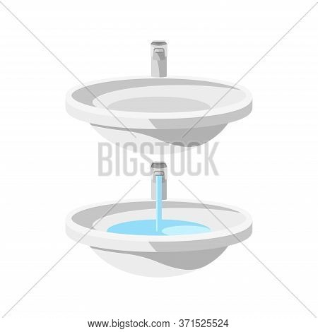 Set Of Two Round Ceramic Sinks With Water Faucets, Empty And Faucet-filled Sink 3d Objects, Plumbing