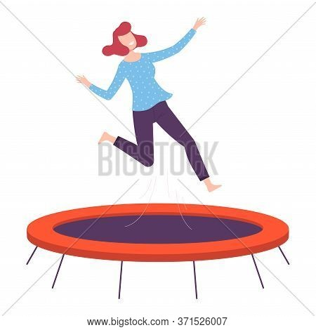 Happy Young Woman Jumpig On Garden Trampoline, Fun And Leisure, Active Healthy Lifestyle Flat Style