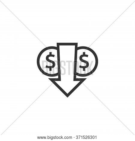 Lower Cost Icon. Dollar Money Decrease Symbol With Arrow Stretching Rising Drop Fall Down. Business