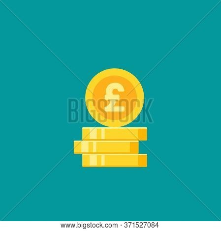 Stack Of Golden Pound Sterling Coins. Flat Gold Icon. Isolated On Blue. Economy, Finance, Money Pict
