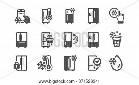 Fridge Icons Set. Freezer Storage, Refrigerator, Smart Fridge Machine. Water With Ice, Cooler Box, T