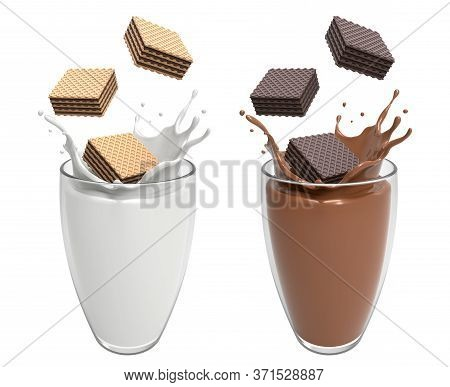 Vanilla And Dark Wafer Chocolate Square Falling In Glass Match Well With Milk And Chocolate Splash H