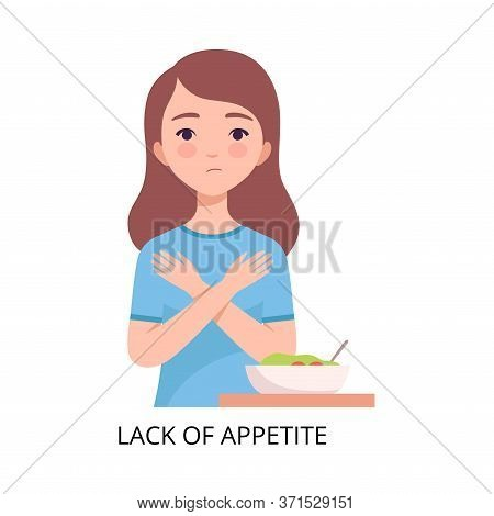 Lack Of Appetite, Girl Suffering From Symptom Of Viral Infection, Influenza Or Respiratory Illness,