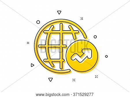 Report Chart Or Sales Growth Sign. World Statistics Icon. Data Analysis Graph Symbol. Yellow Circles