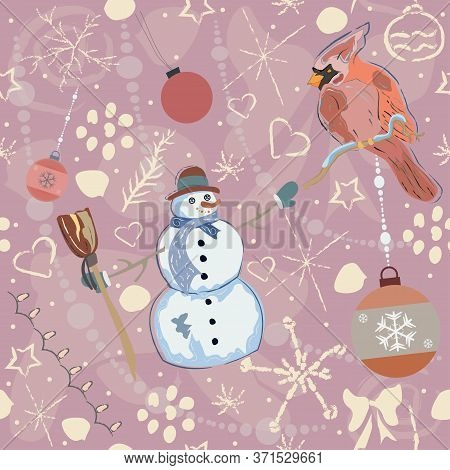 Cute Hand Drawn Snowflake And Snowman And Cardinal Winter Pattern. Sweet Pattern. Vector Illustratio