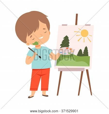 Cute Boy Painting Picture On Easel, Kids Hobby Or Creative Activity Cartoon Vector Illustration