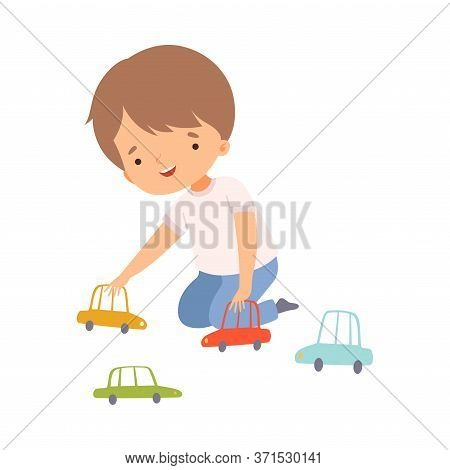 Cute Boy Sitting On The Floor Playing With Toy Cars, Preschool Kid Daily Routine Activity Cartoon Ve