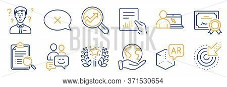 Set Of Technology Icons, Such As Communication, Targeting. Certificate, Save Planet. Augmented Reali