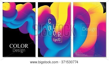 Cover Set. Fluid Flow. Color Poster. 3d Wave. Abstract Color Background. Electronic Sound. Fluid Abs