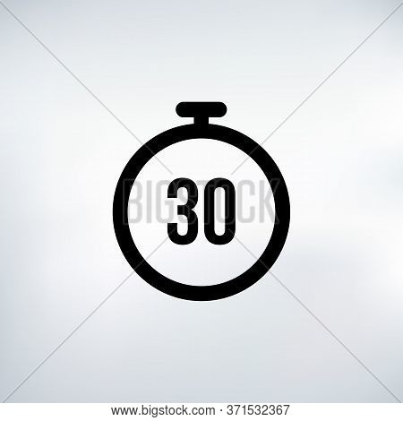 30 Seconds Countdown Timer Icon Set. Time Interval Icons. Stopwatch And Time Measurement. Stock Vect