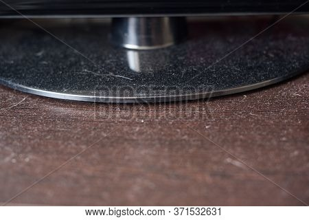 Dust On A Wooden Surface And Tv Stand. Dirty Background To Be Wiped.