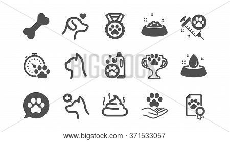 Pets Icons Set. Veterinary, Dog Care And Cat Food. Vaccine, Pet Care And Dog Paw Icons. Winner Cup,