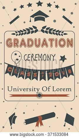 Sweet Pattern With Grad Ceremony Hand Drawn Scandinavian Style.