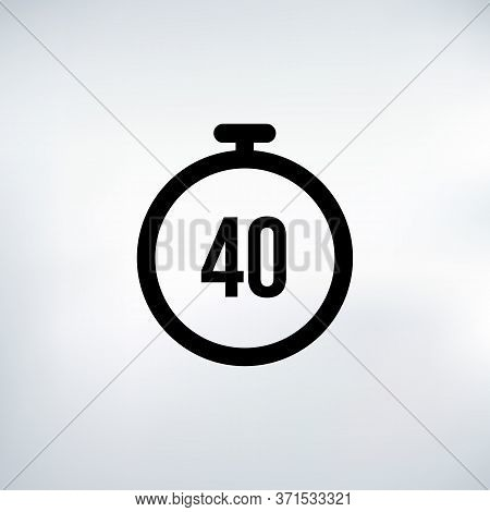 40 Seconds Countdown Timer Icon Set. Time Interval Icons. Stopwatch And Time Measurement. Stock Vect