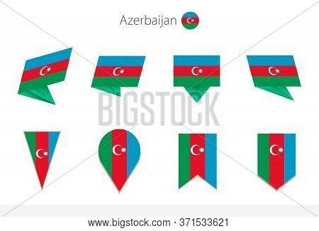 Azerbaijan National Flag Collection, Eight Versions Of Azerbaijan Vector Flags. Vector Illustration.